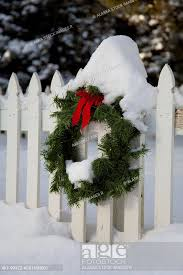 Christmas Wreath On White Picket Fence Covered With Snow At The Kodiak Baptist Mission Kodiak Stock Photo Picture And Royalty Free Image Pic Akf 999zz As0156n001 Agefotostock