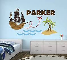 Amazon Com Personalized Pirate Name Wall Decal Pirate Wall Decals Nursery Wall Decals Boy Pirate Ship Art Mural Wall Decor Vinyl Sticker 38 W X 22 H Baby