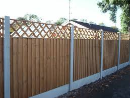 Concrete Slotted Posts Smooth Faced Gravel Boards 6ft X 4ft Feather Edge Fence Panels And 6ft X 1ft Diamond Trellis Backyard Fences Patio Fence Fence Decor