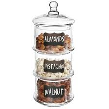 3 tier stackable clear glass candy