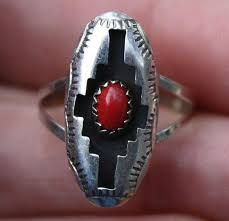 Handmade Small Navajo Sterling Silver & Red Sea Coral Panel Ring By FELIX  PERRY | #1761506219