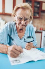 solving crossword puzzle stock photos