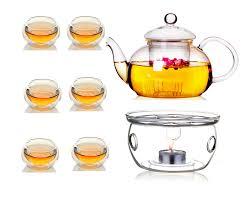 borosilicate glass clear teapot tea set