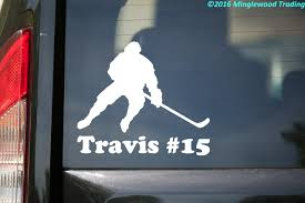 Ice Hockey Player V2 Vinyl Decal Sticker With Personalized Name 5 X 4 5 Stick Puck Minglewood Trading