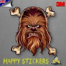 Chewbacca Star Wars Crossbones Skateboard Luggage Car 3m Vinyl Decal Sticker Ebay
