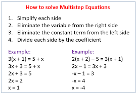 solving multi step equations solutions