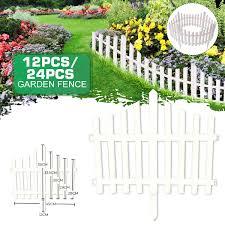 Hallolure 17 7ft Garden Lawn Edging 12 Pack White Flexible White Resin Picket Fence Garden Border Walmart Com Walmart Com