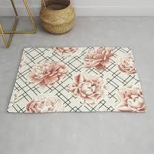 diamond roses in cream and black rug