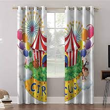Amazon Com Aishare Store Bedroom Curtains 63 Inches Long Thermal Insulated Blackout Draperies Panels Circus Amusement Park Funny Monkey Blackout Curtains For Kids Bedroom 2 Panels Home Kitchen