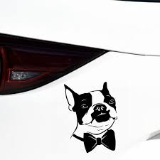 2pcs Bow Tie Boston Terrier Dog Vinyl Decal Funny Car Stickers Car Styling Truck Accessories 15 20cm Wish