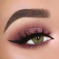 burgundy pink shimmer smokey eye