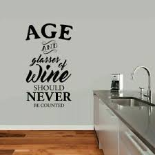 Age And Glasses Of Wine Wall Decal Funny Drinking Kitchen Quotes Decals Murals Ebay