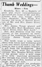 Hines, Harold Marriage to Hilda Fox (Part 1 of 2) - Newspapers.com