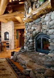 river rock fireplace insteading