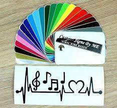 Music Heart Ekg Note Symbol Car Sticker Vinyl Decal Adhesive Wall Window Blck 2 Ebay