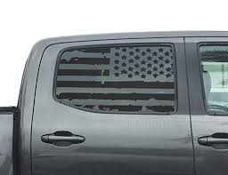 Amazon Com Distressed Usa American Flag Decals For Toyota Tacoma In Matte Black For Crew Cab Windows Fits 3rd Generation 2016 2020 Tp3 Handmade