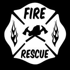 Fire Rescue Firefighter Maltese Cross Car Stickers Pluto99