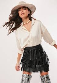 black faux leather fringe mini skirt