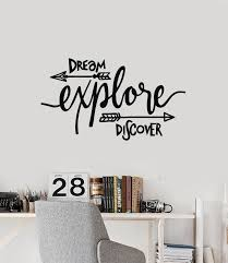 Vinyl Wall Decal Dream Explore Discover Travel Motivational Phrase Sti Wallstickers4you