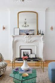 gilt mirror on french fireplace
