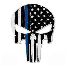 Punisher Skull Thin Blue Line Usa Support Police Sticker 20 Large Size Vinyl Sticker For Truck Car Cornhole Board Sticker Size 20 Walmart Com Walmart Com