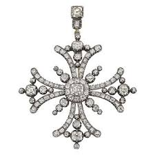 diamond maltese cross pendant brooch