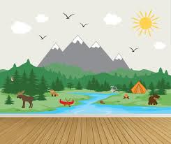 Camping Mountain Wall Decal Mural Mountain Wall Decals Animal Etsy