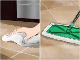 clean grout between floor tiles