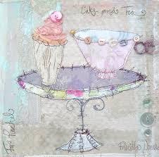 Cake & Tea | Mixed Media | Priscilla Edwards | Flickr