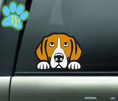 Beagle Peeking Decal Beagle Decal Sticker Beagle Mom Dad Etsy