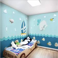 Custom 3d Wall Mural Wallpaper For Kids Room Cartoon Blue Sea Dolphin Boat Airplane Murals For Children S Room Wall Paper 3d Wallpapers Aliexpress