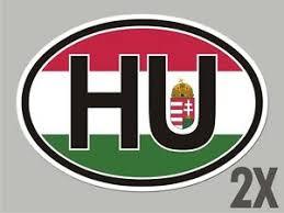 2 Hungary Hu Oval Stickers Flag Decal Bumper Car Bike Emblem Cl078 Ebay