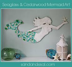 sea glass mosaic tray sand and sisal
