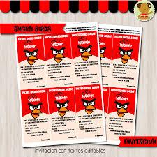 Extraordinario Invitaciones De Angry Birds Para Editar Gratis