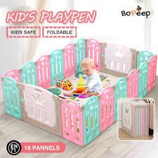 Buy Bopeep Kids Playpen Baby Safety Gates Kid Play Pen Fence Room 18 Panels Graysonline Australia