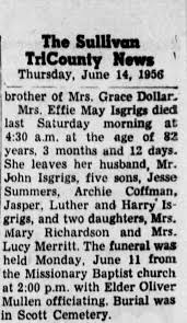 Obituary for Effie May Isgiigs - Newspapers.com