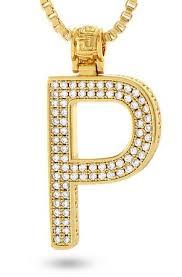 14k gold letter p necklace