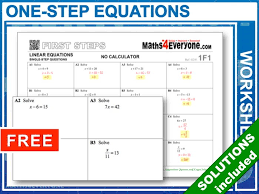 one step equations worksheets with