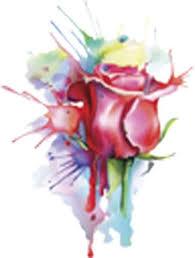 Rainbow Watercolor Paint Splatter Red Rose Vinyl Decal Sticker Shinobi Stickers