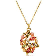 multicolor crystal pendant necklace