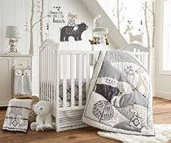 Amazon Com Levtex Baby Bailey Crib Bed Set Baby Nursery Set Charcoal Taupe White Neutral Forest Theme 5 Piece Set Includes Quilt Fitted Sheet Diaper Stacker Wall