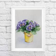 Purple Watercolor Art Kids Room Art Kitchen Wall Decor Etsy