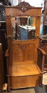 solid oak mirror hall tree bench