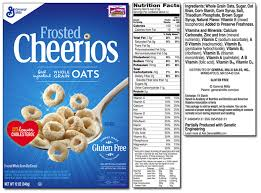 life cereal nutrition label