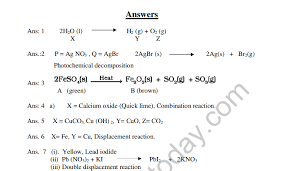 chemical reactions and equations mcq