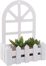 Country Picket Fence Window Design White Wood Wall Mounted Display Shelf Decorative Tabletop Box Amazon Co Uk Kitchen Home