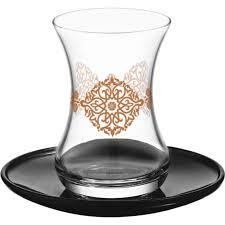 turkish tea glasses set with saucers