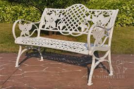 cast aluminum patio garden bench
