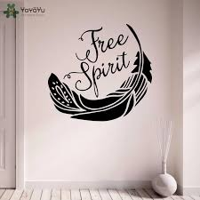 Yoyoyu Wall Decal Quotes Free Spirit Vinyl Wall Stickers Feather Pattern For Kids Rooms Livingroom Art Design Home Decor Diycy71 Wall Stickers Aliexpress