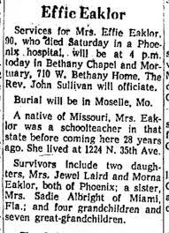 Effie Fisher Bishop Eaklor obit - Newspapers.com